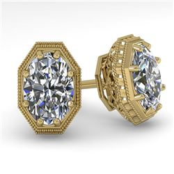 1.0 CTW VS/SI Oval Cut Diamond Stud Solitaire Earrings 18K Yellow Gold - REF-169W3F - 35959