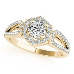 1.43 CTW Certified VS/SI Diamond Solitaire Halo Ring 18K Yellow Gold - REF-379H8A - 26762