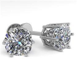 1.0 CTW VS/SI Cushion Cut Diamond Stud Solitaire Earrings 18K White Gold - REF-178N2Y - 35832