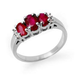 1.18 CTW Ruby & Diamond Ring 18K White Gold - REF-43W3F - 13209