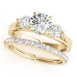 1.92 CTW Certified VS/SI Diamond 3 Stone 2Pc Wedding Set 14K Yellow Gold - REF-430W2F - 32035