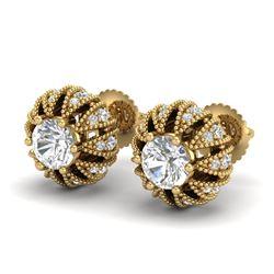 2.01 CTW VS/SI Diamond Art Deco Micro Pave Stud Earrings 18K Yellow Gold - REF-272T8M - 36997