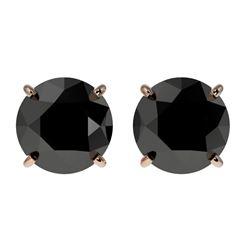 2 CTW Fancy Black VS Diamond Solitaire Stud Earrings 10K Rose Gold - REF-40T9M - 33084