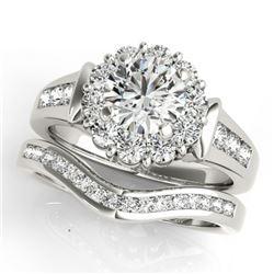 1.56 CTW Certified VS/SI Diamond 2Pc Wedding Set Solitaire Halo 14K White Gold - REF-182F4N - 31244