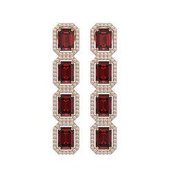 12.73 CTW Garnet & Diamond Halo Earrings 10K Rose Gold - REF-146A9X - 41472