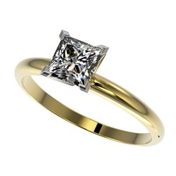 1 CTW Certified VS/SI Quality Princess Diamond Engagement Ring 10K Yellow Gold - REF-297X2T - 32899