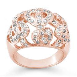 0.85 CTW Certified VS/SI Diamond Ring 14K Rose Gold - REF-106X2T - 13106