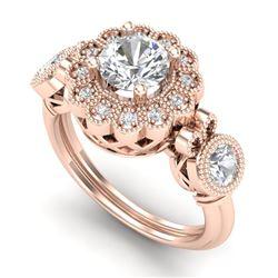 1.5 CTW VS/SI Diamond Solitaire Art Deco 3 Stone Ring 18K Rose Gold - REF-300A2X - 37059