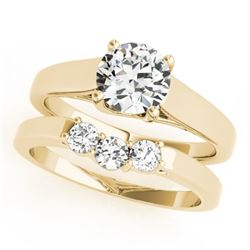 0.6725 CTW Certified VS/SI Diamond 2Pc Set Solitaire Wedding 14K Yellow Gold - REF-105T3M - 32107