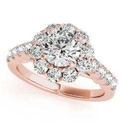 2.1 CTW Certified VS/SI Diamond Solitaire Halo Ring 18K Rose Gold - REF-262A9X - 26372