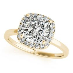 1.15 CTW Certified VS/SI Cushion Diamond Solitaire Halo Ring 18K Yellow Gold - REF-429H6A - 27221