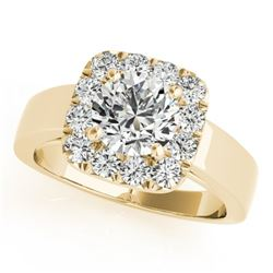 1.55 CTW Certified VS/SI Diamond Solitaire Halo Ring 18K Yellow Gold - REF-433N3Y - 26900