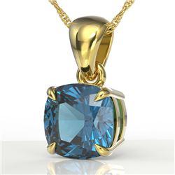 1.50 CTW Cushion Cut London Blue Topaz Designer Necklace 18K Yellow Gold - REF-25X5T - 21950