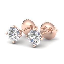 1.01 CTW VS/SI Diamond Solitaire Art Deco Stud Earrings 18K Rose Gold - REF-180T2M - 37299