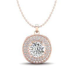 1.25 CTW VS/SI Diamond Solitaire Art Deco Necklace 18K Rose Gold - REF-272M8H - 37260