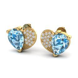 2.50 CTW Sky Blue Topaz & Micro Pave VS/SI Diamond Earrings 10K Yellow Gold - REF-30X2T - 20068