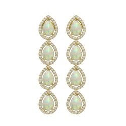 6.2 CTW Opal & Diamond Halo Earrings 10K Yellow Gold - REF-148X9T - 41155