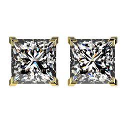 2.50 CTW Certified VS/SI Quality Princess Diamond Stud Earrings 10K Yellow Gold - REF-840T2M - 33116