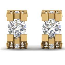 2.25 CTW I-SI Diamond Solitaire Art Deco Stud Micro Earrings 14K Yellow Gold - REF-233N5Y - 30290