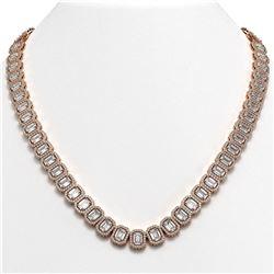 47.12 CTW Emerald Cut Diamond Designer Necklace 18K Rose Gold - REF-10014N2Y - 42840