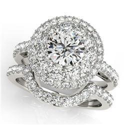 2.55 CTW Certified VS/SI Diamond 2Pc Wedding Set Solitaire Halo 14K White Gold - REF-455M6H - 30936