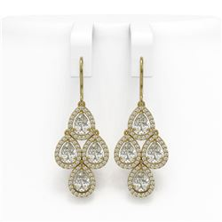 5.85 CTW Pear Diamond Designer Earrings 18K Yellow Gold - REF-1090Y2K - 42829