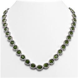 35.13 CTW Tourmaline & Diamond Halo Necklace 10K White Gold - REF-775H5A - 41063