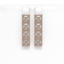 6.08 CTW Princess Diamond Designer Earrings 18K Rose Gold - REF-1132X4T - 42729