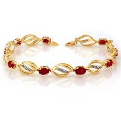 5.10 CTW Ruby & Diamond Bracelet 10K Yellow Gold - REF-70H9A - 10661