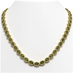 31.1 CTW Tourmaline & Diamond Halo Necklace 10K Yellow Gold - REF-600A2X - 40423