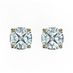 3 CTW Cushion Cut Sky Blue Topaz Designer Stud Earrings 18K Yellow Gold - REF-29M3H - 21767