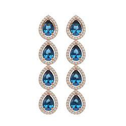 7.81 CTW London Topaz & Diamond Halo Earrings 10K Rose Gold - REF-139A5X - 41175