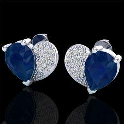 2.50 CTW Sapphire & Micro Pave VS/SI Diamond Earrings 10K White Gold - REF-31M8H - 20079