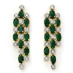 4.03 CTW Emerald & Diamond Earrings 14K Yellow Gold - REF-109F3N - 14279