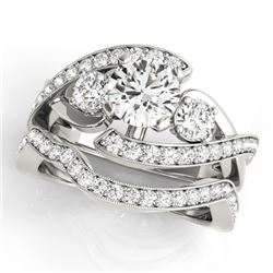 2.29 CTW Certified VS/SI Diamond Bypass Solitaire 2Pc Wedding Set 14K White Gold - REF-570Y9K - 3177