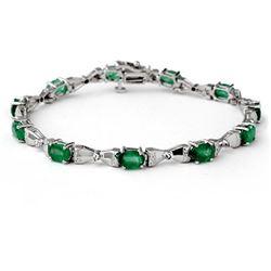 6.11 CTW Emerald & Diamond Bracelet 14K White Gold - REF-81H6A - 14306