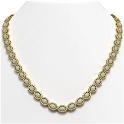 21.21 CTW Opal & Diamond Halo Necklace 10K Yellow Gold - REF-555M3H - 40417
