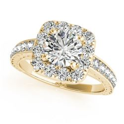 1.11 CTW Certified VS/SI Diamond Solitaire Halo Ring 18K Yellow Gold - REF-169H6A - 26547