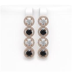 6.22 CTW Black & White Diamond Designer Earrings 18K Rose Gold - REF-635N6Y - 42702