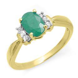 0.96 CTW Emerald & Diamond Ring 10K Yellow Gold - REF-32X2T - 13560