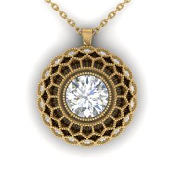 1.25 CTW Certified VS/SI Diamond Art Deco Necklace 14K Yellow Gold - REF-360N4Y - 30560