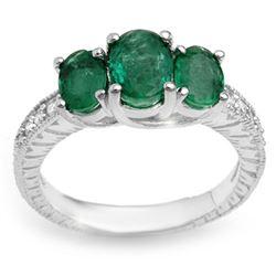 2.50 CTW Emerald & Diamond Ring 10K White Gold - REF-49A3X - 10770