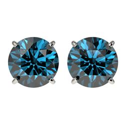 3 CTW Certified Intense Blue SI Diamond Solitaire Stud Earrings 10K White Gold - REF-379N3Y - 33126