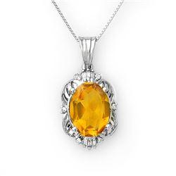 5.80 CTW Citrine & Diamond Necklace 10K White Gold - REF-44Y9K - 10652