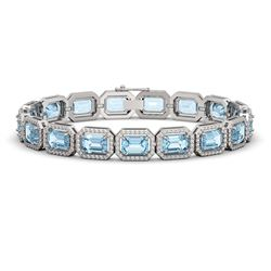 23.66 CTW Sky Topaz & Diamond Halo Bracelet 10K White Gold - REF-303H8A - 41408