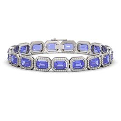 25.36 CTW Tanzanite & Diamond Halo Bracelet 10K White Gold - REF-606F8N - 41387