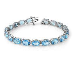 30.0 CTW Blue Topaz Bracelet 10K White Gold - REF-60M2H - 13355