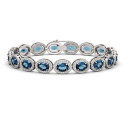 24.32 CTW London Topaz & Diamond Halo Bracelet 10K White Gold - REF-256Y8K - 40637