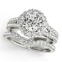 2.35 CTW Certified VS/SI Diamond 2Pc Wedding Set Solitaire Halo 14K White Gold - REF-437K3W - 31097