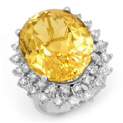 20.0 CTW Citrine & Diamond Ring 14K White Gold - REF-202W2F - 14337